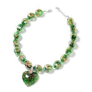 Jewelry - Green Murano Millefiori Glass, Heart Necklace